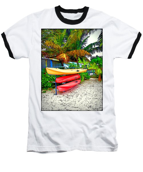 Kayaks In Paradise Baseball T-Shirt by Joan  Minchak