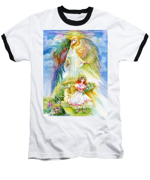 Baseball T-Shirt featuring the pastel Keep Her Safe Lord by Karen Showell