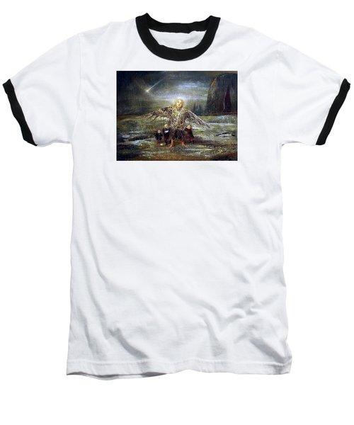 Kids Guiding The Angel Baseball T-Shirt by Mikhail Savchenko
