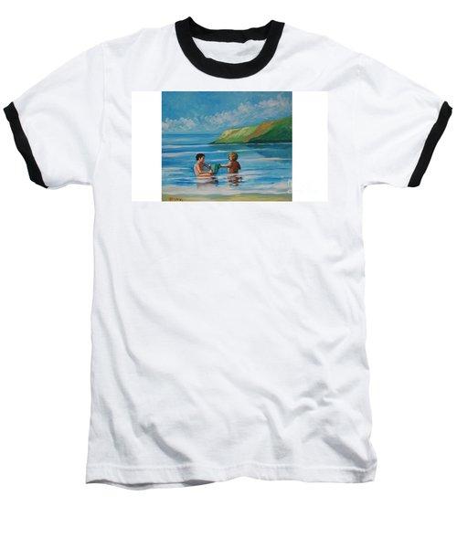 Kids Playing On The Beach Baseball T-Shirt