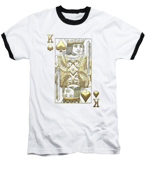 King Of Spades In Gold On Black   Baseball T-Shirt