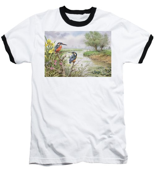 Kingfishers On The Riverbank Baseball T-Shirt