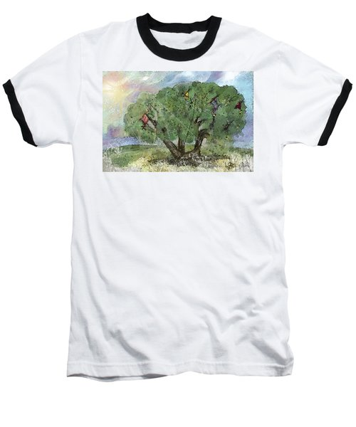 Baseball T-Shirt featuring the painting Kite Eating Tree by Annette Berglund