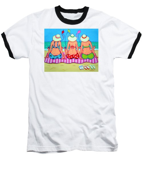 Kite Flying 101 - Girlfriends On Beach Baseball T-Shirt