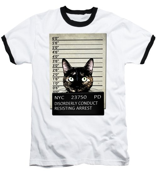 Kitty Mugshot Baseball T-Shirt by Nicklas Gustafsson