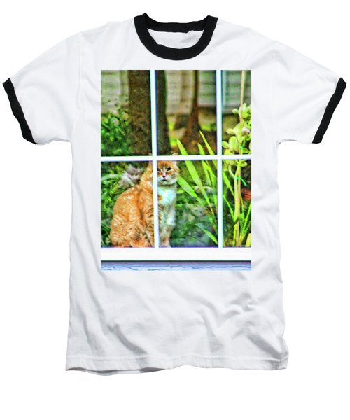 Baseball T-Shirt featuring the photograph Kitty Reflections by Wendy McKennon