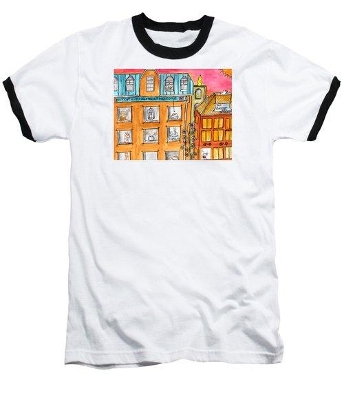 Kittyscape Hotel Baseball T-Shirt by Lou Belcher