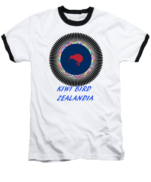 Kiwi Bird Zealandia Mandala Baseball T-Shirt by Peter Gumaer Ogden