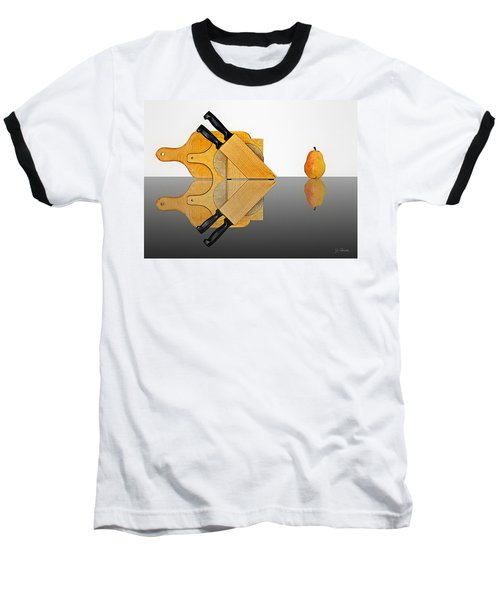 Knife Block, Cutting Boards And Pear Baseball T-Shirt by Joe Bonita