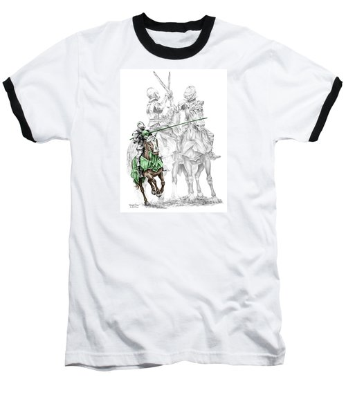 Knight Time - Renaissance Medieval Print Color Tinted Baseball T-Shirt by Kelli Swan