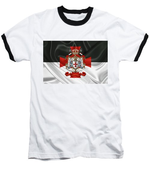 Knights Templar - Coat Of Arms Over Flag Baseball T-Shirt by Serge Averbukh