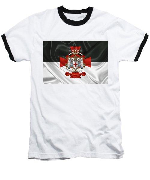 Knights Templar - Coat Of Arms Over Flag Baseball T-Shirt
