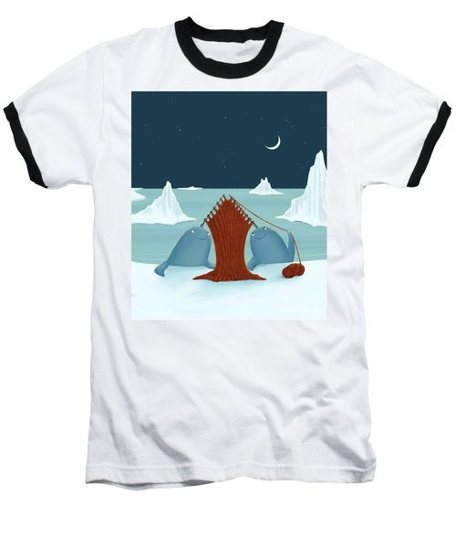 Knitting Narwhals Baseball T-Shirt