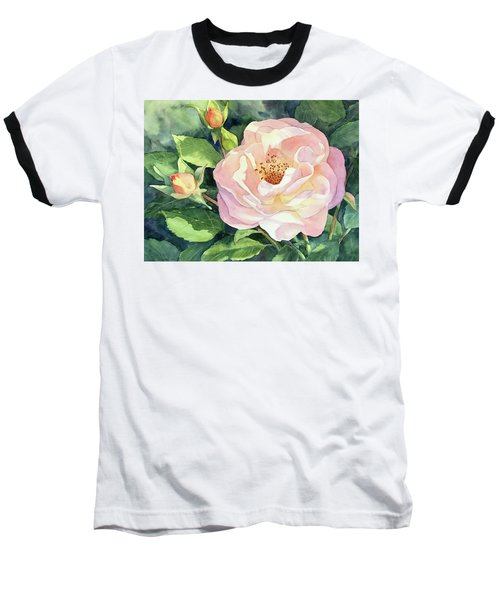 Baseball T-Shirt featuring the painting Knockout Rose And Buds by Vikki Bouffard