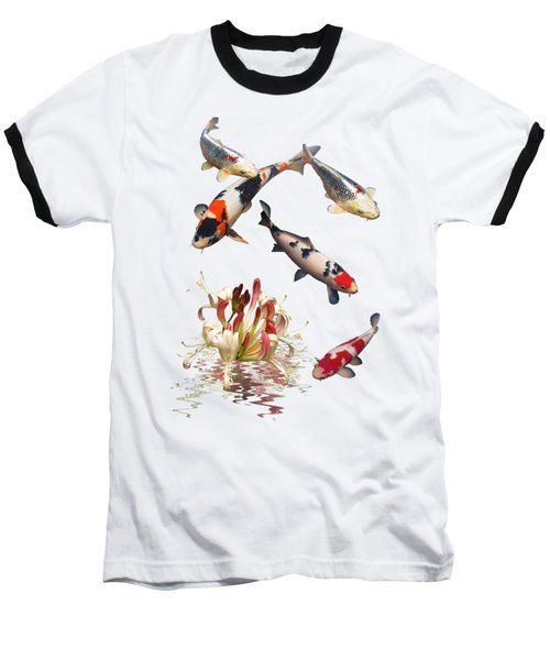 Koi With Honeysuckle Reflections Vertical Baseball T-Shirt