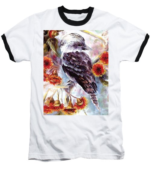 Kookaburra In Red Flowering Gum Baseball T-Shirt