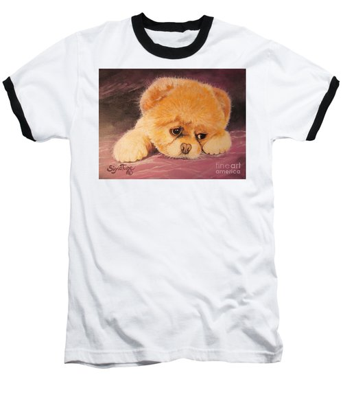 Baseball T-Shirt featuring the painting Koty The Puppy by Sigrid Tune