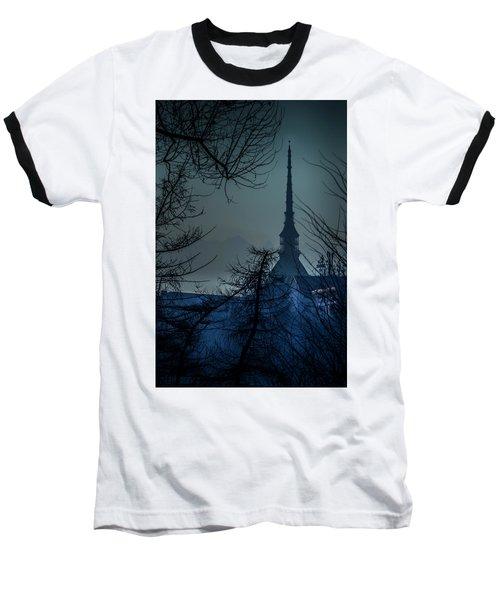 Baseball T-Shirt featuring the photograph La Mole Antonelliana-blu by Sonny Marcyan