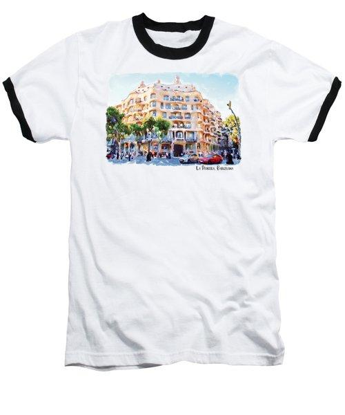 La Pedrera Barcelona Baseball T-Shirt by Marian Voicu