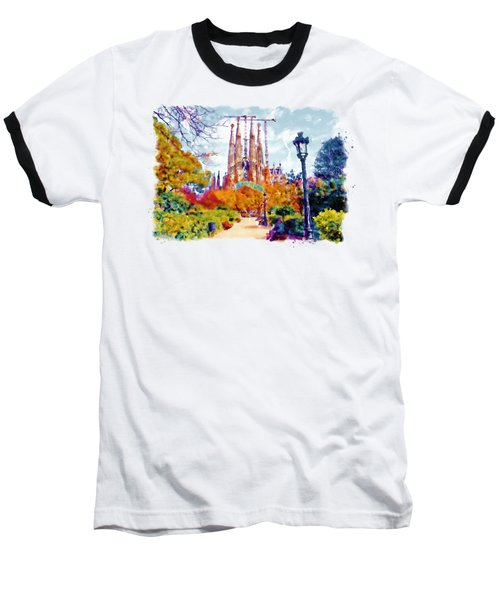 La Sagrada Familia - Park View Baseball T-Shirt by Marian Voicu