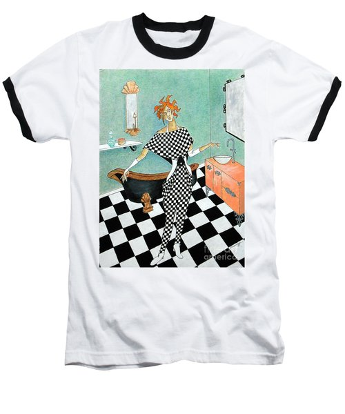 La Toilette -- Woman In Whimsical Art Deco Bathroom Baseball T-Shirt