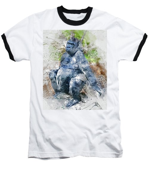 Lady Gorilla Sitting Deep In Thought Baseball T-Shirt