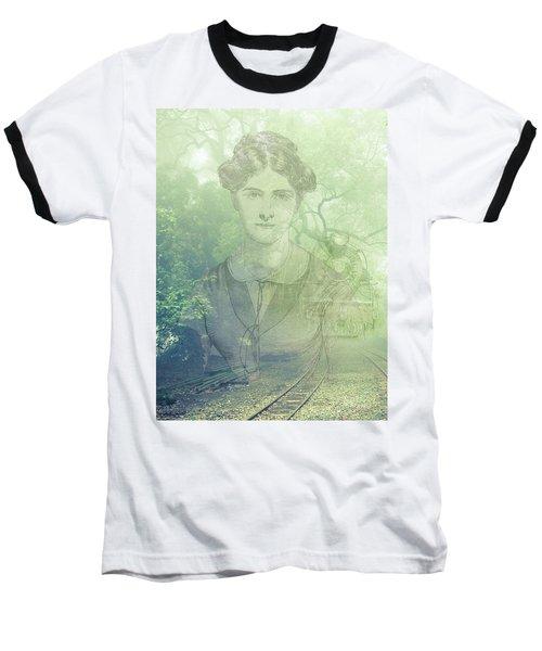 Lady On The Tracks Baseball T-Shirt by Angela Hobbs