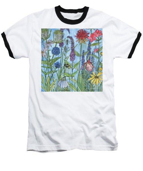 Lady Slipper In My Garden  Baseball T-Shirt