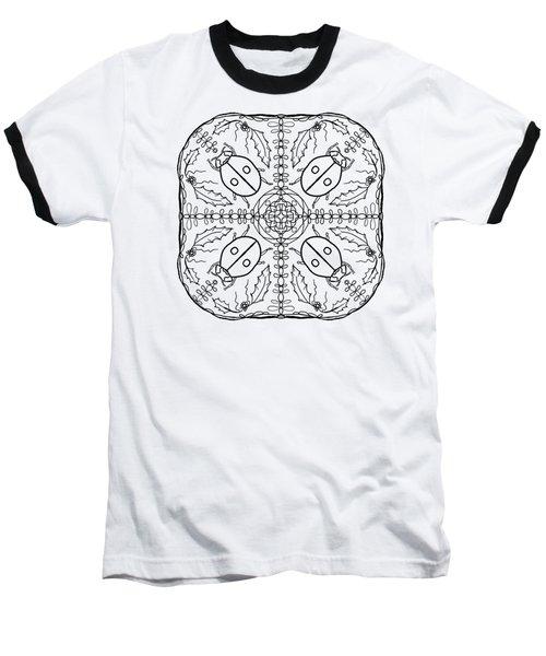 Ladybug Mandala Baseball T-Shirt by Tanya Provines