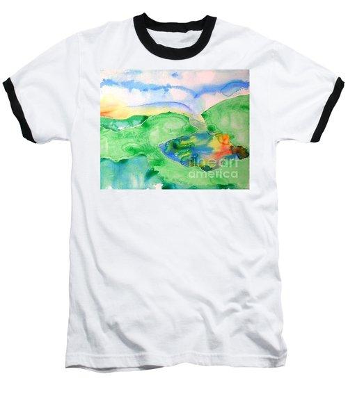 Lake At Sunset Baseball T-Shirt by Lynda Cookson
