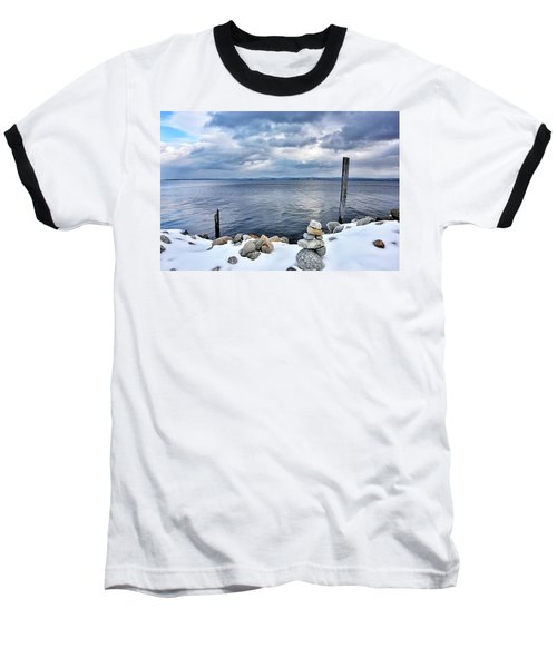 Baseball T-Shirt featuring the photograph Lake Champlain During Winter by Brendan Reals
