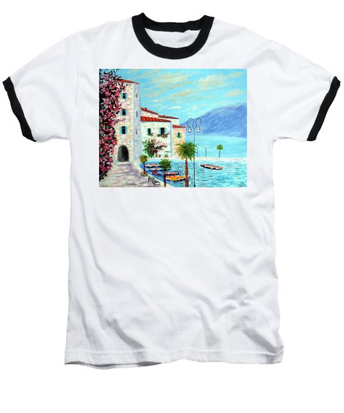 Baseball T-Shirt featuring the painting Lake Garda Bliss by Larry Cirigliano