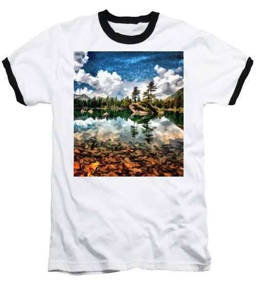 Lake Island View Baseball T-Shirt by Mario Carini