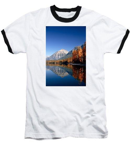 Lake Mcdonald Autumn Baseball T-Shirt by Lawrence Boothby