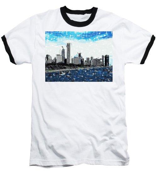 Lake Michigan And The Chicago Skyline Baseball T-Shirt