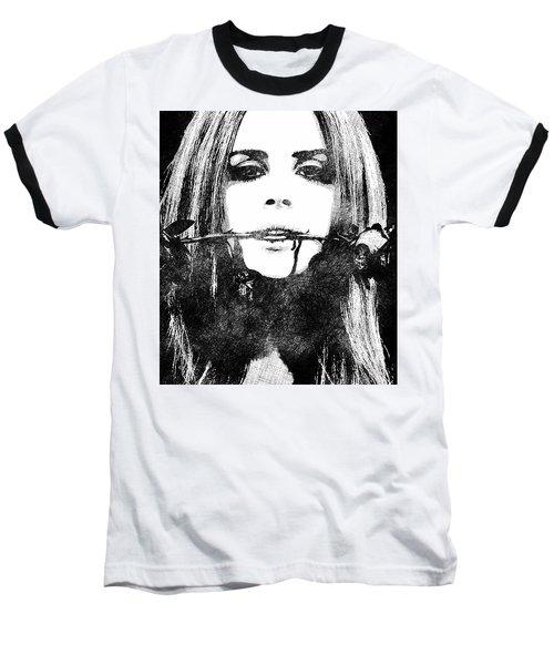 Lana Del Rey Bw Portrait Baseball T-Shirt by Mihaela Pater