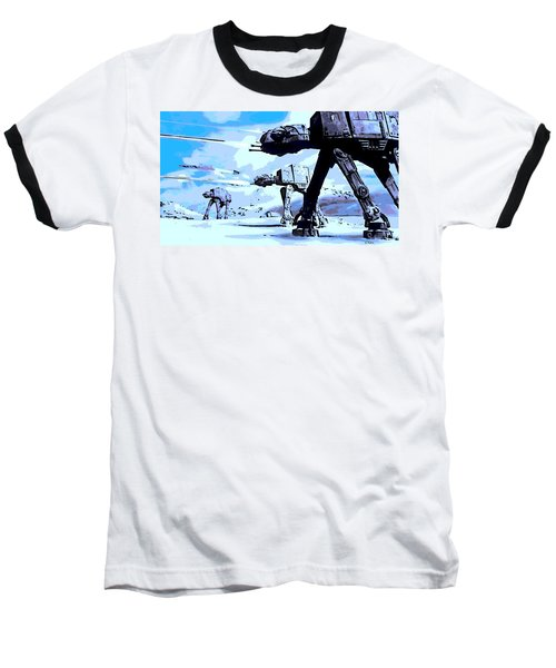 Land Battle Baseball T-Shirt by George Pedro