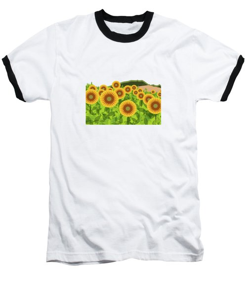 Land Of Sunflowers. Baseball T-Shirt by Absentis Designs