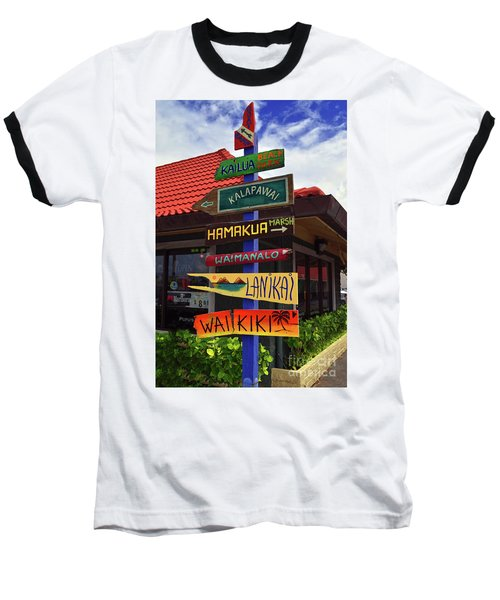 Baseball T-Shirt featuring the photograph Lanikai Kailua Waikiki Beach Signs by Aloha Art