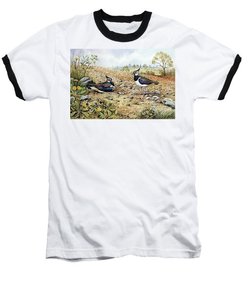 Lapwing Family With Goldfinches Baseball T-Shirt by Carl Donner