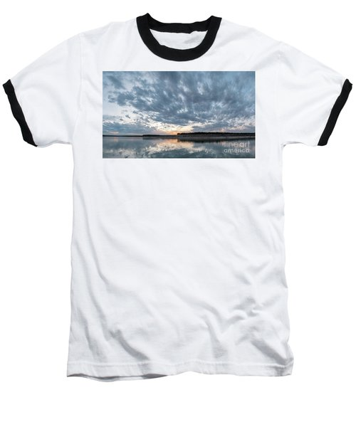 Large Panorama Of Storm Clouds Reflecting On Large Lake At Sunse Baseball T-Shirt