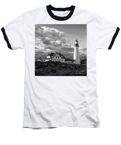 Late Afternoon Clouds, Portland Head Light  -98461-sq Baseball T-Shirt