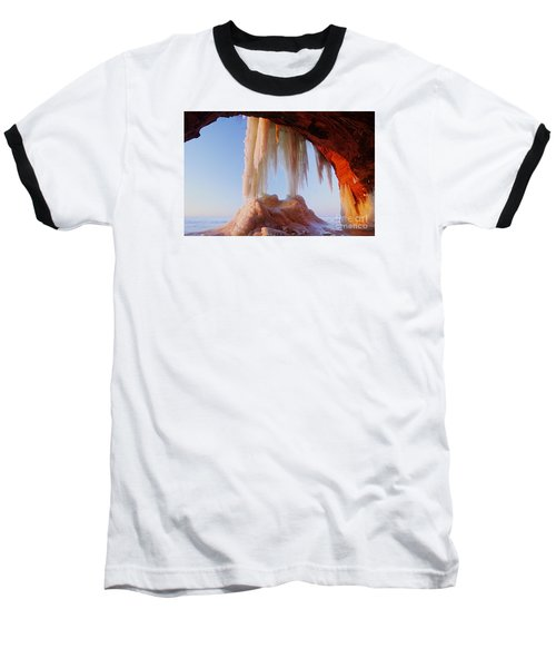 Baseball T-Shirt featuring the photograph Late Afternoon In An Ice Cave by Larry Ricker