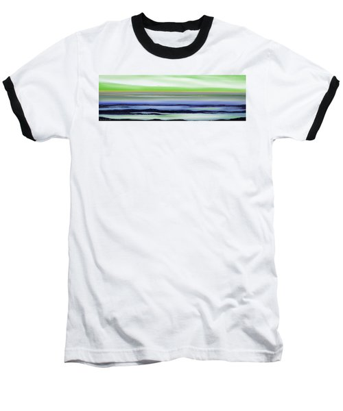 Lava Rock Panoramic Sunset In Green And Blue Baseball T-Shirt