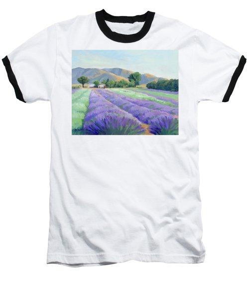 Baseball T-Shirt featuring the painting Lavender Lines by Sandy Fisher