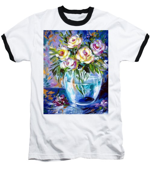 Baseball T-Shirt featuring the painting Le Rose Bianche by Roberto Gagliardi
