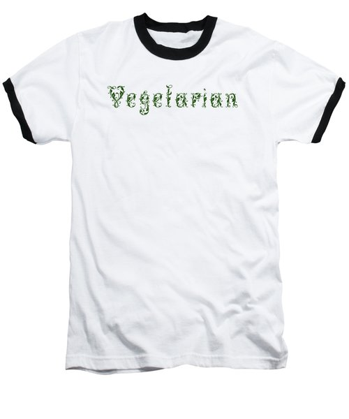 Leafy Green Vegetarian Baseball T-Shirt by Nola Lee Kelsey