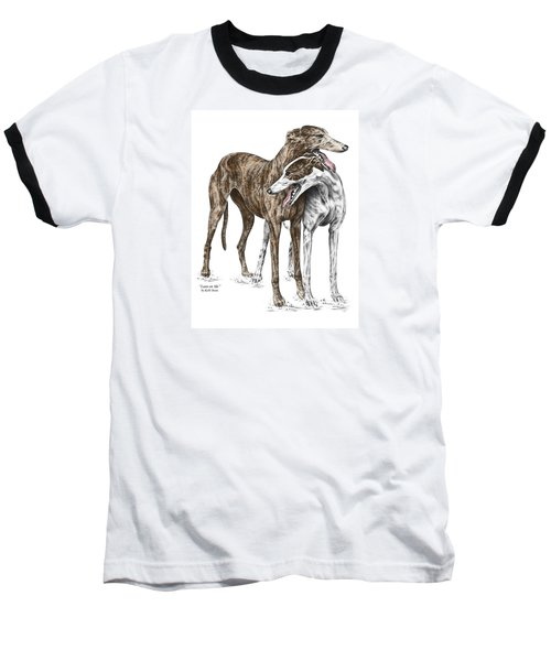 Lean On Me - Greyhound Dogs Print Color Tinted Baseball T-Shirt by Kelli Swan