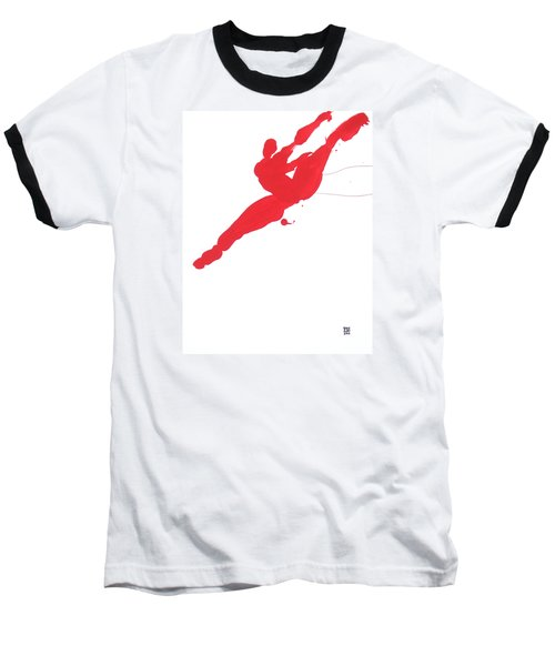 Baseball T-Shirt featuring the painting Leap Brush Red 3 by Shungaboy X