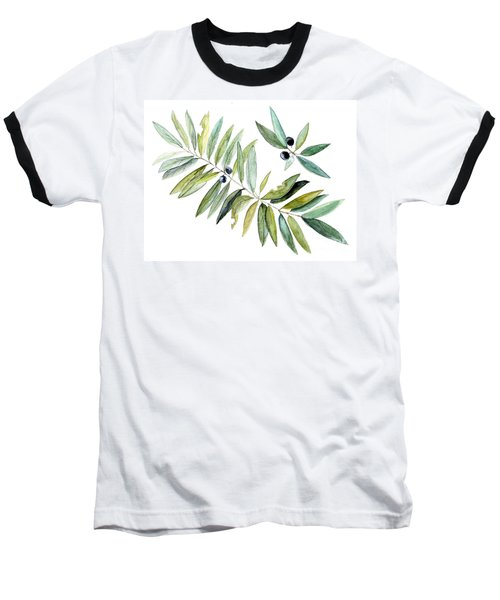 Leaves And Berries Baseball T-Shirt by Laurie Rohner